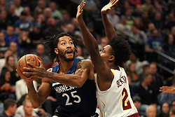 October 19, 2018 - Minneapolis, MN, USA - The Minnesota Timberwolves' Derrick Rose (25) looks for a shooting lane against the Cleveland Cavaliers' Collin Sexton (2) in the first half on Friday, Oct. 19, 2018, at the Target Center in Minneapolis. (Credit Image: © Anthony Souffle/Minneapolis Star Tribune/TNS via ZUMA Wire)