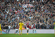 Aston Villa fans celebrate as Fabian Delph, the Aston Villa captain scores  his sides second goal of the game to make it 2-1.  The FA Cup, semi final match, Aston Villa v Liverpool at Wembley Stadium in London on Sunday 19th April 2015.<br /> pic by John Patrick Fletcher, Andrew Orchard sports photography.