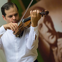 Gyorgy Lakatos of Hungary plays his violin during the Jozsef Szigeti International Violin Contest held every five year in Budapest, Hungary on September 06, 2012. ATTILA VOLGYI
