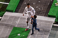 Real Madrid's player Cristiano Ronaldo with his kid during the celebration of the victory of the Real Madrid Champions League at Santiago Bernabeu in Madrid. May 29. 2016. (ALTERPHOTOS/Borja B.Hojas)