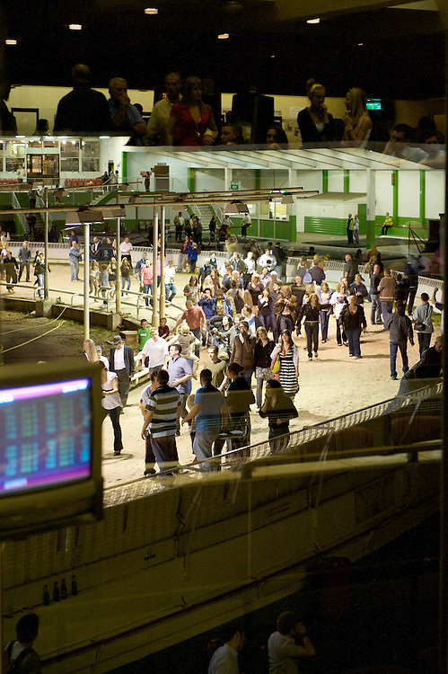 Walthamstow, England.  August 16, 2008.  Crowds spilled onto the track at Walthamstow Stadium after the final greyhound race in its 75 year history.  Forced to closed as a result of diminishing profits and poor attendance, record crowds flocked to take in the festivites one last time...