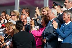 King Carl XVU Gustaf, SWE, Queen Silvia Sommerlath, SWE, De Vos Ingmar, BEL, De Vos Sabine, BEL<br /> FEI European Jumping Championships - Goteborg 2017 <br /> © Hippo Foto - Dirk Caremans<br /> 27/08/2017,