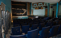 Renovation work done by Bonnette, Page and Stone at the Colonial Theater in downtown Laconia. First level theater area with middle partition wall.   ©2016 Karen Bobotas Photographer