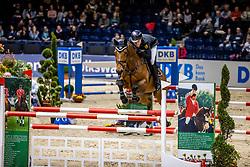 HOLZMANN Julian (GER), Iberia<br /> Finale HGW-Bundesnachwuchschampionat der Springreiter <br /> gefördert durch die Horst-Gebers-Stiftung <br /> In Memoriam Debby Winkler<br /> Stilspringen Kl. M*<br /> Nat. style jumping competition Kl. M*<br /> Braunschweig - Classico 2020<br /> 08. März 2020<br /> © www.sportfotos-lafrentz.de/Stefan Lafrentz