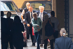 © Licensed to London News Pictures. 04/09/2019. London, UK.  Prime Minister Boris Johnson (r) and his special advisor Dominic Cummings (l) arrive at The Houses of Parliament ahead of the Prime Ministers first PMQs.  Photo credit: George Cracknell Wright/LNP