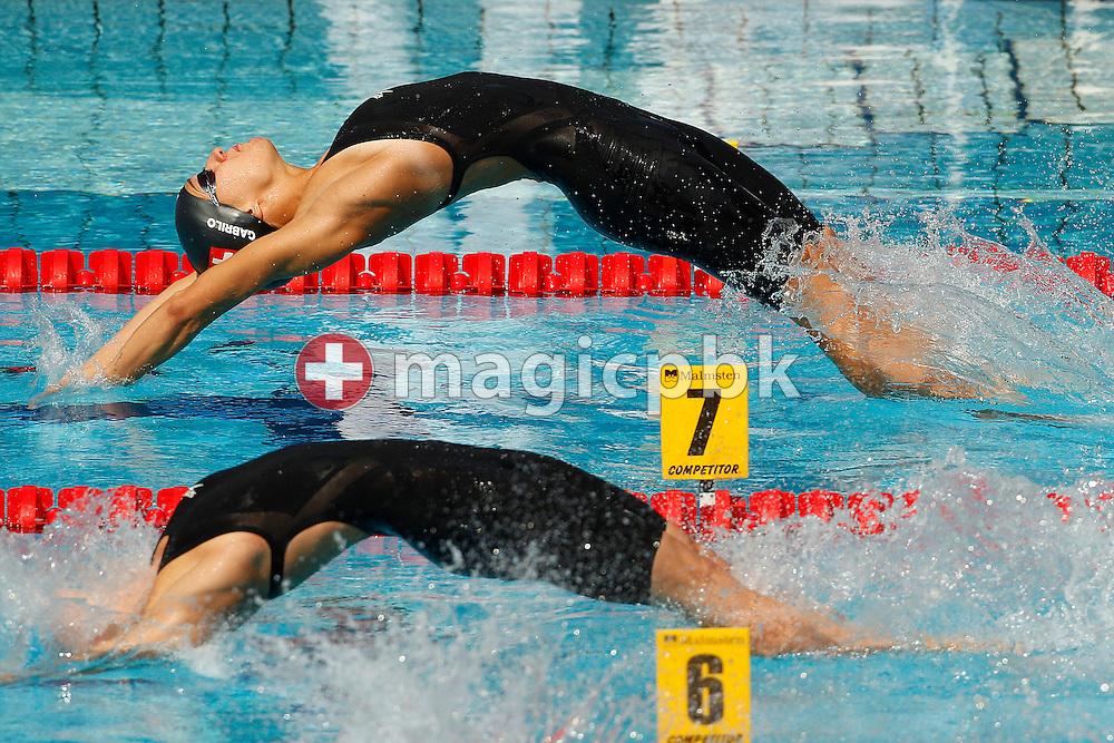 Ivana GABRILO (top) of Switzerland starts in the women's 50m Backstroke Heats at the European Swimming Championship at the Hajos Alfred Swimming complex in Budapest, Hungary, Friday, Aug. 13, 2010. (Photo by Patrick B. Kraemer / MAGICPBK)