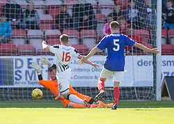 Cowdenbeath's keeper Michael Andrews brings down Dunfermline's Ryan Wallace, and is sent off.<br /> Dunfermline 5 v 1 Cowdenbeath, Scottish League Cup game played today at East End Park.