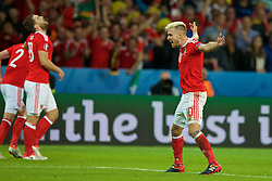 LILLE, FRANCE - Friday, July 1, 2016: Wales' Aaron Ramsey celebrates the third goal to make the score 3-1 during the UEFA Euro 2016 Championship Quarter-Final match against Belgium at the Stade Pierre Mauroy. (Pic by Paul Greenwood/Propaganda)