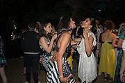 KARINA BURMAN; ALIYA MODI, Serpentine's Summer party co-hosted with Christopher Kane. 15th Serpentine Pavilion designed by Spanish architects Selgascano. Kensington Gardens. London. 2 July 2015.