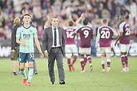 Football - 2021 / 2022 Premier League - West Ham United vs Leicester City - London Stadium - Monday 23rd August 2021<br /> <br /> Leicester City manager Brendan Rodgers with Luke Thomas at the final whistle.<br /> <br /> COLORSPORT/Ashley Western