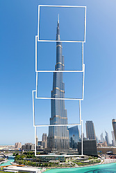 digitally manipulated image of Burj Khalifa tower in Dubai United Arab Emirates