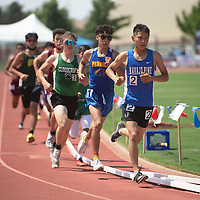 Navajo Pine Warrior Ryan Kee leads the 3200 meter run at the NMAA 2A track and field state finals in Albuquerque Friday.