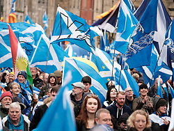 All Under One Banner March, Edinburgh, 5 October 2019<br /> <br /> Pictured: Marchers make their way up the Royal Mile<br /> <br /> Alex Todd | Edinburgh Elite media