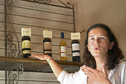 Sylvie Courcelle, daughter to Francis Courcelle, owner and winemaker, showing the range of wines made  Chateau Thieuley La Sauve Majeure  Entre-deux-Mers  Bordeaux Gironde Aquitaine France
