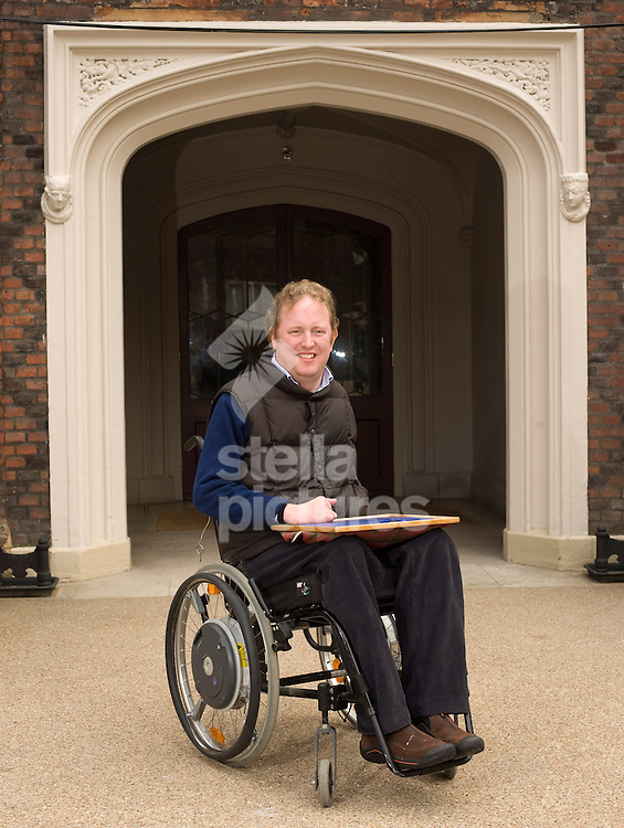 Picture by Daniel Hambury. <br /> 16/4/10.<br /> Jamie Polk, who was left paralysed after an accident pictured at the Animal Art Fair in Fulham Palace.