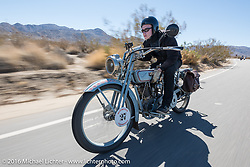 Eric Trapp of Frankfurt, Germany on his 1916 Harley-Davidson twin during the Motorcycle Cannonball Race of the Century. Stage-14 ride from Lake Havasu CIty, AZ to Palm Desert, CA. USA. Saturday September 24, 2016. Photography ©2016 Michael Lichter.