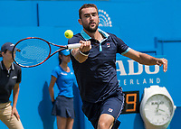 Tennis - 2017 Aegon Championships [Queen's Club Championship] - Day Four, Thursday <br /> <br /> Men's Singles: Round of 16 - Marin Cilic (CRO) Vs Stefan Kozlov (USA)<br /> <br /> Marin Cilic (CRO) in action on Centre Court at Queens Club<br /> <br /> COLORSPORT/DANIEL BEARHAM