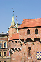 Krakow Barbican historic gateway into the Old Town Stare Miasto in Krakow Poland