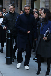 David Beckham & Family Members arrive at Men's Fashion Presentation at Kent & Curwen Store in Covent Garden in London. 07 Jan 2018 Pictured: David Beckham. Photo credit: MEGA TheMegaAgency.com +1 888 505 6342
