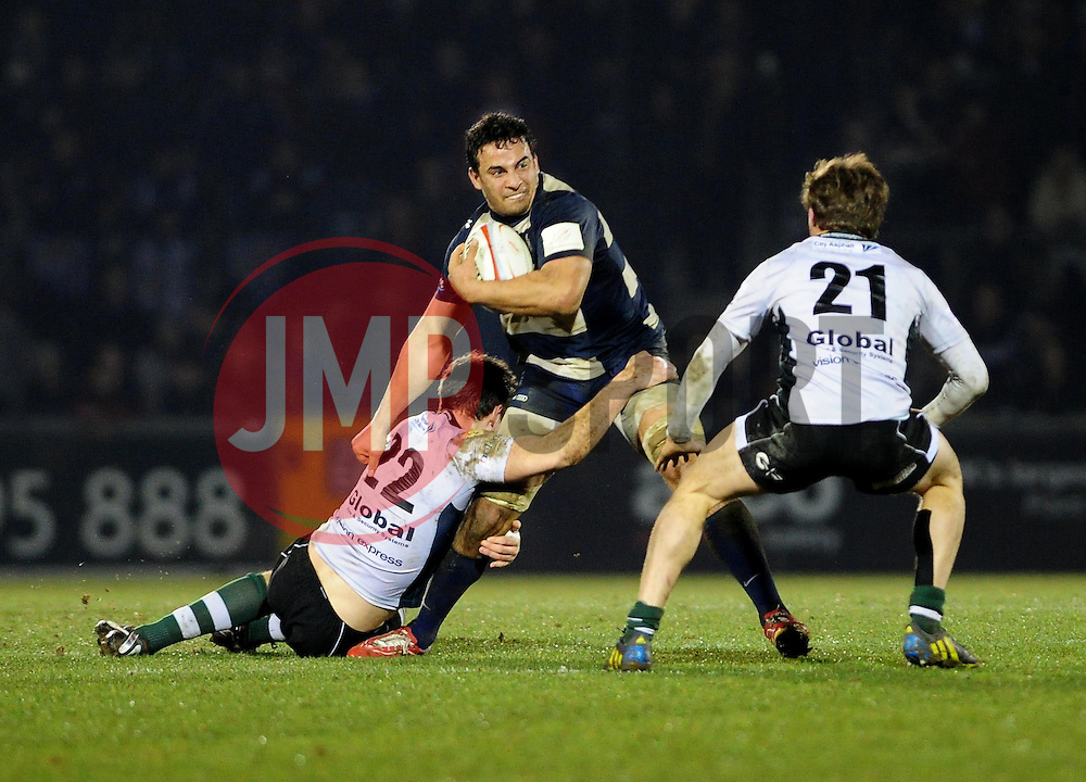 Bristol Flanker (#6) Marco Mama is tackled by Nottingham replacement (#22) Andy Forsyth - Photo mandatory by-line: Dougie Allward/JMP - Tel: Mobile: 07966 386802 08/03/2013 - SPORT - RUGBY - Memorial Stadium - Bristol. Bristol v Nottingham - RFU Championship.