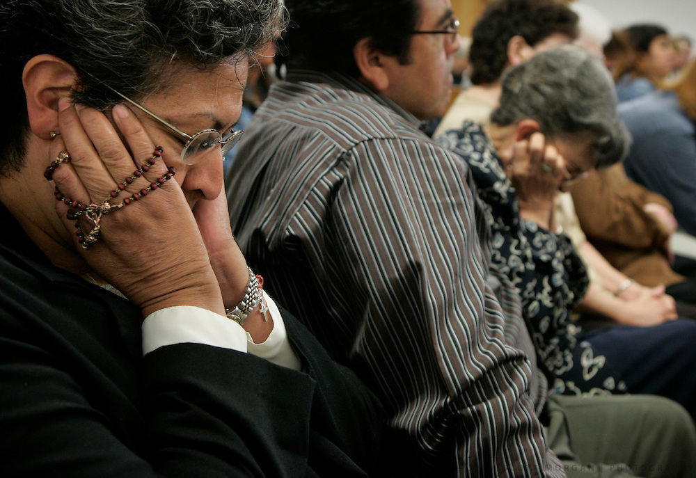 Mary Jessie Carson of West Point, Iowa covers her ears as a tape of a 911 call from her niece, 14-year-old Shayne Bentler, which recorded her shooting death, is played during the murder trial of Shawn Bentler. Bentler was found guilty of murdering his family in Keosauqua, Iowa. Scott Morgan   The Hawk Eye