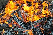 Israel, Haifa, The Jewish holiday of Lag Baomer by a bonfire