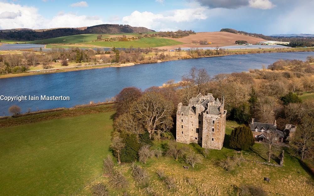Aerial view of Elcho Castle near Rhynd, Perthshire, Scotland UK