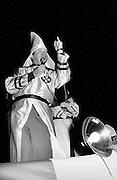 Ku Klux Klan Grand Dragon Dr. Edward Fields gives an inflammatory speech at a KKK rally near the town of Monroe, Georgia.