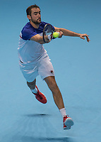Tennis - 2017 Nitto ATP Finals at The O2 - Day Three<br /> <br /> Group Boris Becker Singles: Marin Cilic (Croatia) Vs Jack Sock (United States) <br /> <br /> Marin Cilic (Croatia) stretches to reach the ball at the O2 Arena<br /> <br /> COLORSPORT/DANIEL BEARHAM
