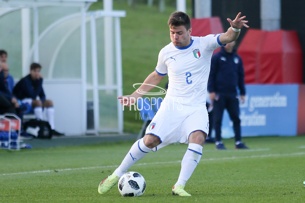 Alberto Barazzetta of Italy (2) crosses the ball during the UEFA European Under 17 Championship 2018 match between Israel and Italy at St George's Park National Football Centre, Burton-Upon-Trent, United Kingdom on 10 May 2018. Picture by Mick Haynes.