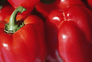 Close up selective focus photograph of red Bell peppers