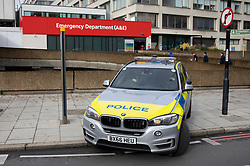 © Licensed to London News Pictures. 13/10/2020. London, UK. A armed police response vehicle is parked on the pavement outside St Thomas' Hospital during an incident which is believed to now be contained. Photo credit: Peter Macdiarmid/LNP