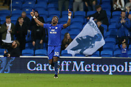 Omar Bogle of Cardiff city celebrates after he scores his teams 2nd  goal. EFL Skybet championship match, Cardiff city v Ipswich Town at the Cardiff city stadium in Cardiff, South Wales on Tuesday 31st October 2017.<br /> pic by Andrew Orchard, Andrew Orchard sports photography.