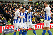 GOAL - Brighton and Hove Albion midfielder Anthony Knockaert (11) celebrates with Brighton and Hove Albion midfielder Dale Stephens (6) and Brighton and Hove Albion defender Shane Duffy (4) during the The FA Cup 5th round match between Brighton and Hove Albion and Derby County at the American Express Community Stadium, Brighton and Hove, England on 16 February 2019.