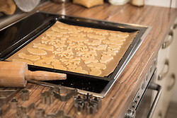 Baking tray with different shaped cookies on kitchen counter, Munich, Bavaria, Germany