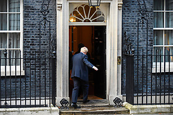 © Licensed to London News Pictures. 08/10/2019. LONDON, UK.  Boris Johnson, Prime Minister, enters Number 10 Downing Street, for talks with David Sassoli, President of the European Parliament (not pictured).  Photo credit: Stephen Chung/LNP