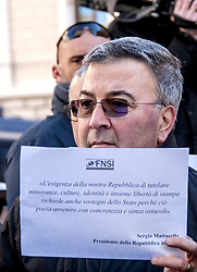December 18, 2018 - Rome, Italy, Italy - Protest in Rome in front of the Chamber of Deputies by the National Federation of Press (FNSI), the Order of Journalists and representatives of newspapers that are likely to close due to cuts in the fund for publishing and information innovation as a result of a government amendment. If approved, it would gradually reduce the direct contributions of public funding from 2019 to zero in 2022 for publishers of newspapers and magazines. At risk one thousand direct jobs, 10 thousand in the induced. (Credit Image: © Patrizia Cortellessa/Pacific Press via ZUMA Wire)