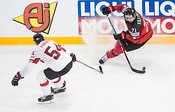 Philippe Furrer of Switzerland vs Alex Killorn of Canada during the 2017 IIHF Men's World Championship group B Ice hockey match between National Teams of Canada and Switzerland, on May 13, 2017 in AccorHotels Arena in Paris, France. Photo by Vid Ponikvar / Sportida