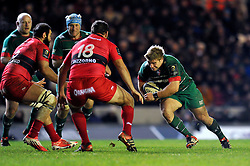 Tom Youngs of Leicester Tigers takes on the Toulon defence - Photo mandatory by-line: Patrick Khachfe/JMP - Mobile: 07966 386802 07/12/2014 - SPORT - RUGBY UNION - Leicester - Welford Road - Leicester Tigers v Toulon - European Rugby Champions Cup