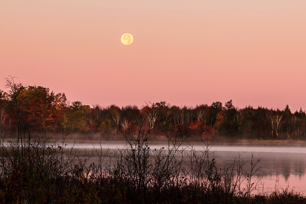 The culmination of a moon setting, the sun rising, fog, a lake reflection, a silhouette, and the end of autumn peak colors allowed for quite a scene to photograph. It was a tricky one too, especially doing it in a single frame without overprocessing the image in post-processing. The additional challenge of keeping the moon sharp but being able to pick up the colors of the rest of the scene and maintain a silhouette.
