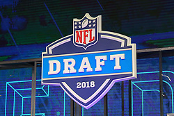 April 26, 2018 - Arlington, TX, U.S. - ARLINGTON, TX - APRIL 26:  The 2018 NFL Draft Logo during the first round of the 2018 NFL Draft at AT&T Statium on April 26, 2018 at AT&T Stadium in Arlington Texas.  (Photo by Rich Graessle/Icon Sportswire) (Credit Image: © Rich Graessle/Icon SMI via ZUMA Press)