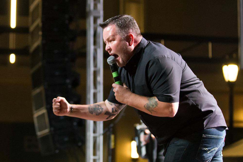 The Dropkick Murphys Ken Casey captured in concert.