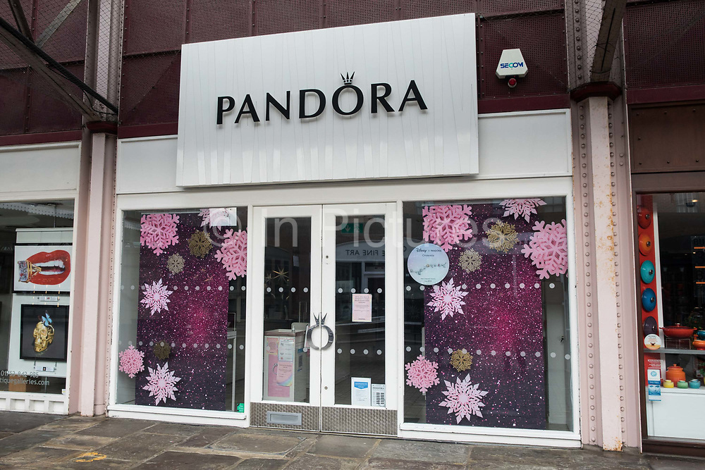 A branch of Pandora, the world's largest jeweller, is pictured during the second coronavirus lockdown on 9th November 2020 in Windsor, United Kingdom. The company has made clear that it currently has no plans to permanently close any of its stores as a result of the coronavirus pandemic and that it intends to continue paying its staff in full.