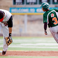 032813       Cable Hoover<br /> <br /> Wingate Bear Emery Thompson (3) rounds second as Hatch Valley Bear shortstop Sergio Grajeda (12) chase down the ball Thursday at Ford Canyon Park.