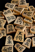 """A set of """"moriage-gama"""" raised letter shogi playing pieces. Nakajima Seikichi Shoten, Tendo, Yamagata Prefecture, Japan, February 19, 2018. The city of Tendo in Yamagata Prefecture is famous for its shogi (Japanese chess) playing pieces. Production started early in the 19th century and Tendo still produces over 95% of the Shogi pieces made in Japan."""