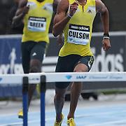 Javier Culson, Puerto Rico, in action during the Men's 400m Hurdles event at the Diamond League Adidas Grand Prix at Icahn Stadium, Randall's Island, Manhattan, New York, USA. 25th May 2013. Photo Tim Clayton