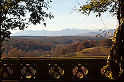 View of the mountains from the Library Terrace at the Biltmore Estate privately owned by the Vanderbilt family in Asheville, NC. The house is the largest private home in America with over 250 rooms.