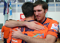 Jasmin Cuturic and Scott Touzinsky celebrating after 4th and final match of Slovenian Voleyball  Championship  between OK Salonit Anhovo (Kanal) and ACH Volley (from Bled), on April 23, 2008, in Kanal, Slovenia. The match was won by ACH Volley (3:1) and it became Slovenian Championship Winner. (Photo by Vid Ponikvar / Sportal Images)/ Sportida)