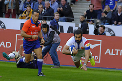 February 23, 2019 - Saint Denis, Seine Saint Denis, France - The Wing of French Team YOANN HUGET score the third try of his team during the Guinness Six Nations Rugby tournament between France and Scotland at the Stade de France - St Denis - France..France won 27-10 (Credit Image: © Pierre Stevenin/ZUMA Wire)