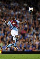 "Aston Villa's Christian Benteke controls the ball  - Photo mandatory by-line: Joe Meredith/JMP - Tel: Mobile: 07966 386802 21/08/2013 - SPORT - FOOTBALL - Stamford Bridge - London - Chelsea V Aston Villa - Barclays Premier League - EDITORIAL USE ONLY. No use with unauthorised audio, video, data, fixture lists, club/league logos or ""live"" services. Online in-match use limited to 45 images, no video emulation. No use in betting, games or single club/league/player publications"